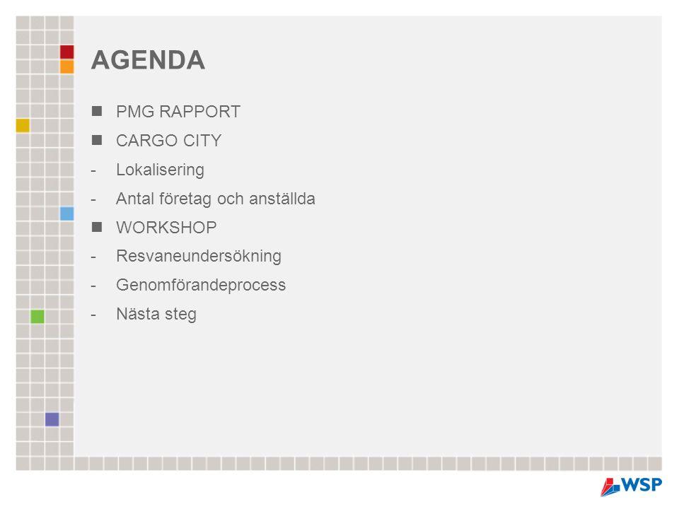 AGENDA PMG RAPPORT CARGO CITY Lokalisering Antal företag och anställda