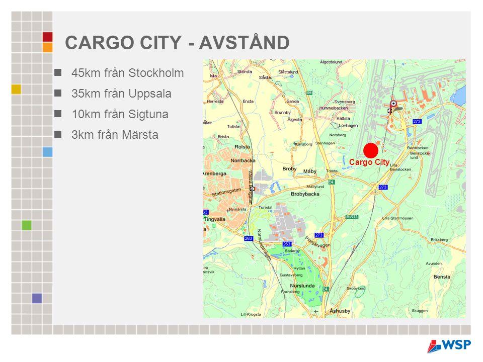 CARGO CITY - AVSTÅND 45km från Stockholm 35km från Uppsala