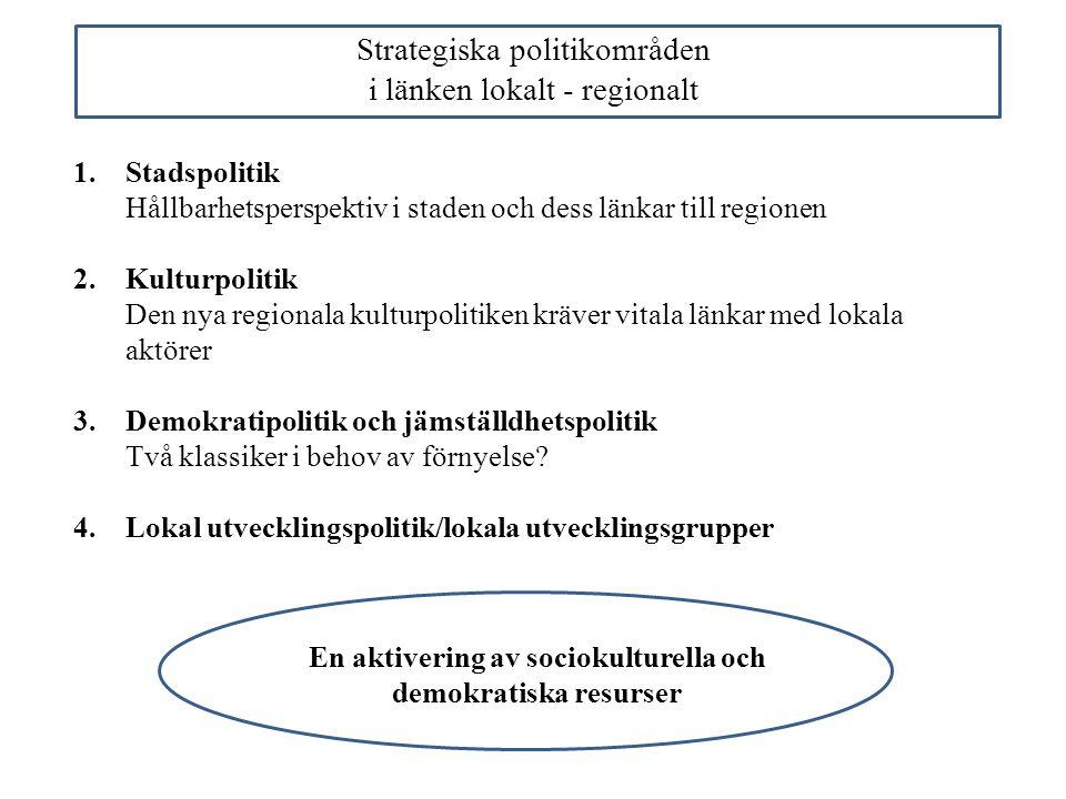 Strategiska politikområden i länken lokalt - regionalt