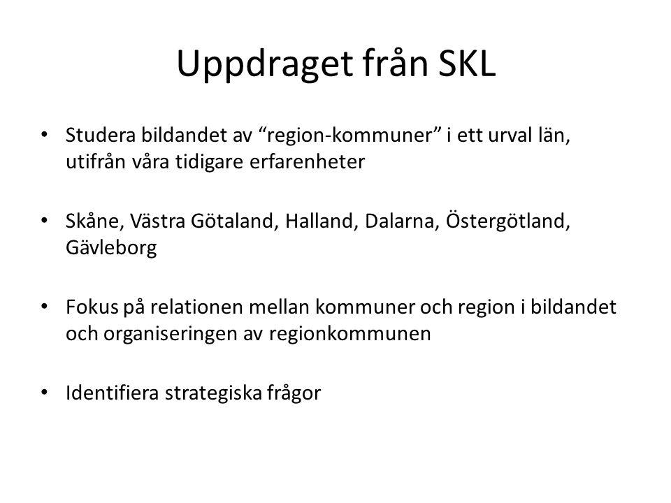 Uppdraget från SKL Studera bildandet av region-kommuner i ett urval län, utifrån våra tidigare erfarenheter.
