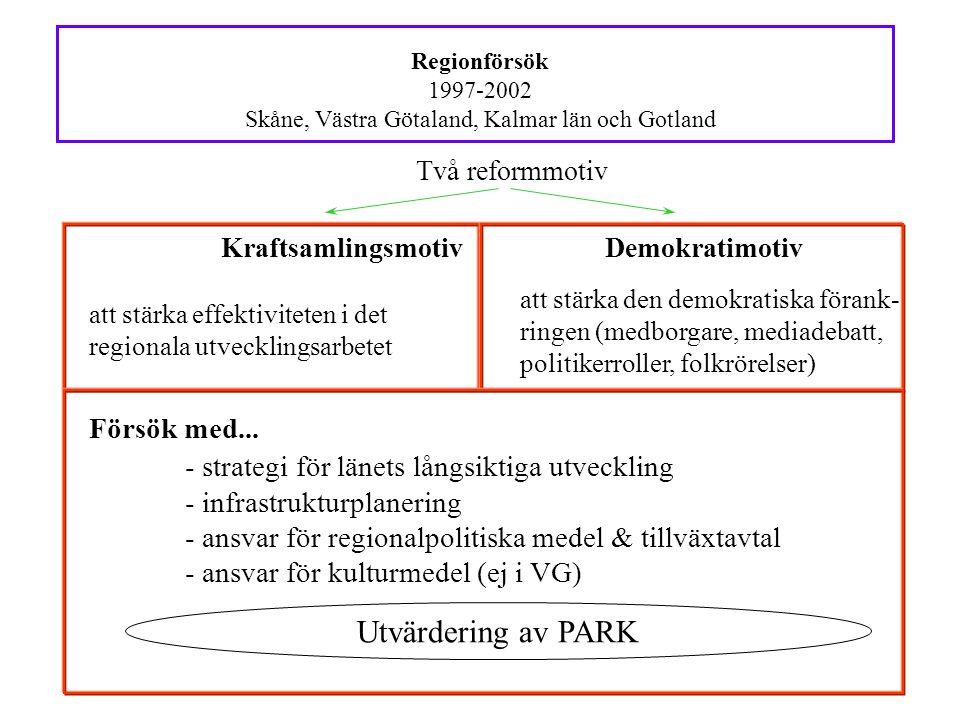 Regionförsök 1997-2002 Skåne, Västra Götaland, Kalmar län och Gotland