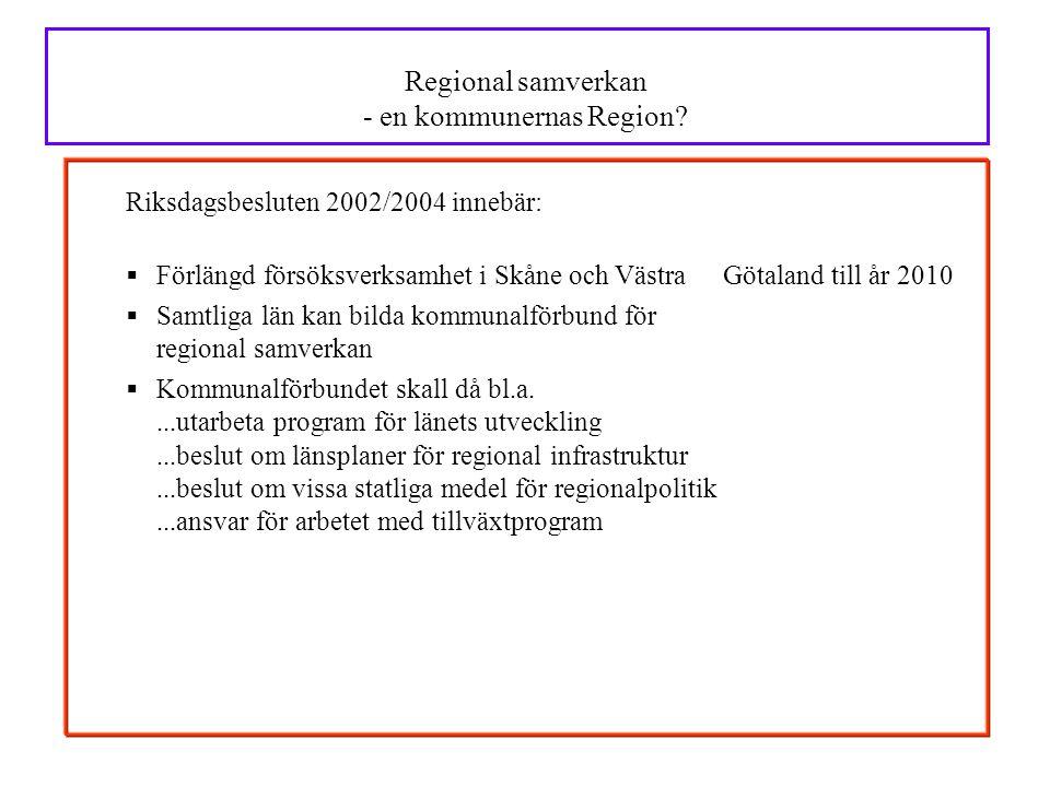 Regional samverkan - en kommunernas Region
