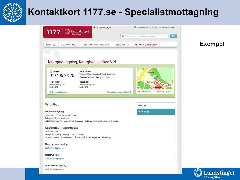 Kontaktkort 1177.se - Specialistmottagning