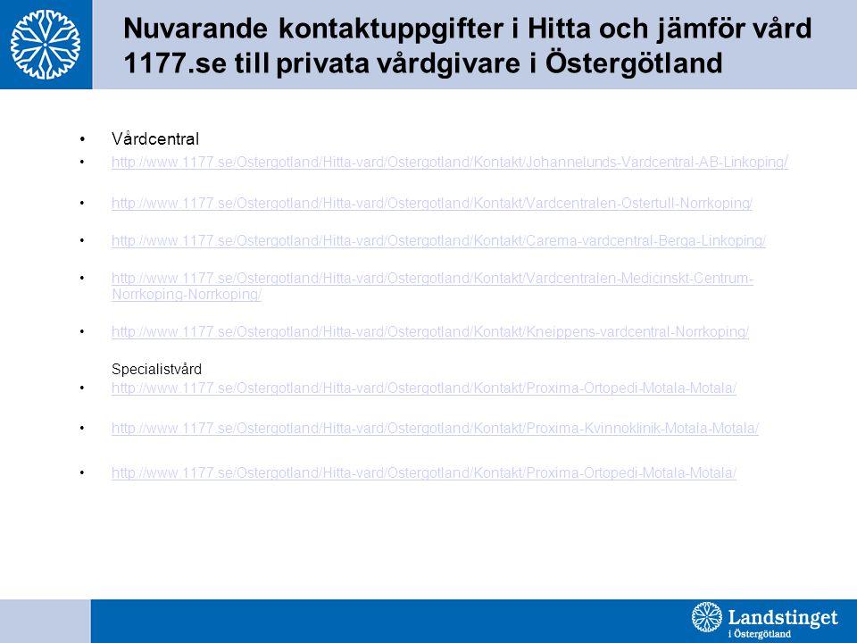 Nuvarande kontaktuppgifter i Hitta och jämför vård 1177