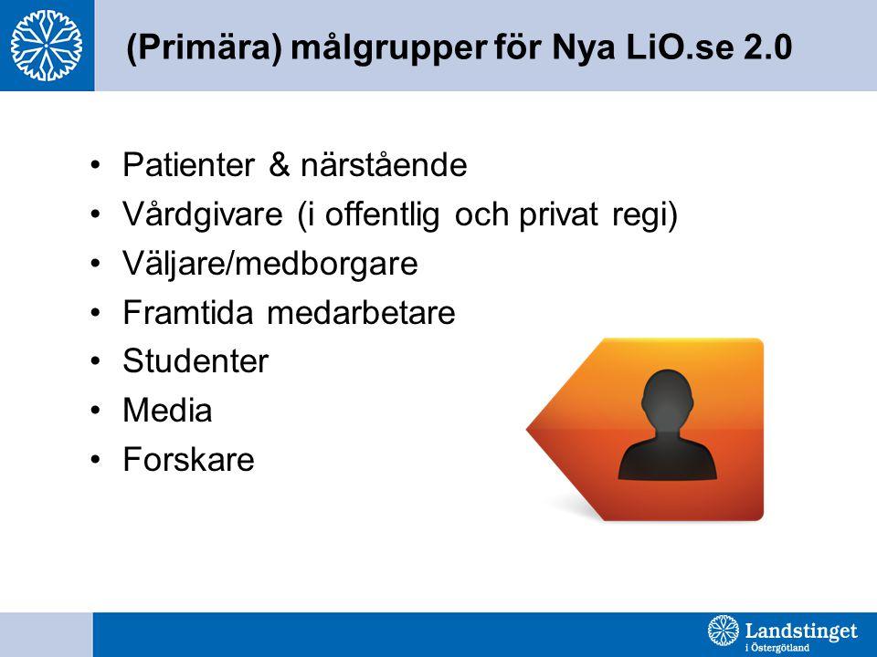 (Primära) målgrupper för Nya LiO.se 2.0