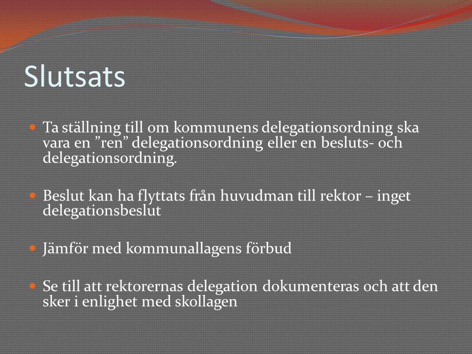 Slutsats Ta ställning till om kommunens delegationsordning ska vara en ren delegationsordning eller en besluts- och delegationsordning.