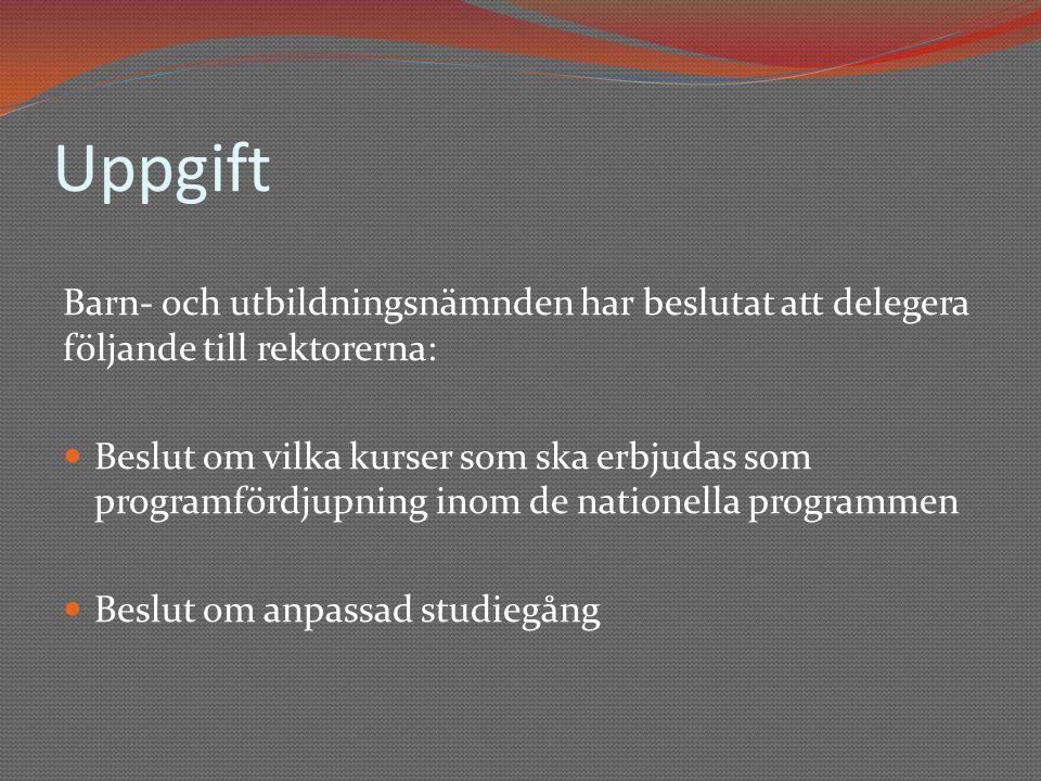 Uppgift Barn- och utbildningsnämnden har beslutat att delegera följande till rektorerna: