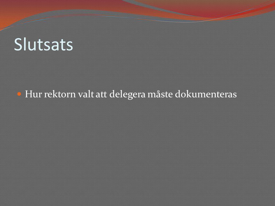 Slutsats Hur rektorn valt att delegera måste dokumenteras