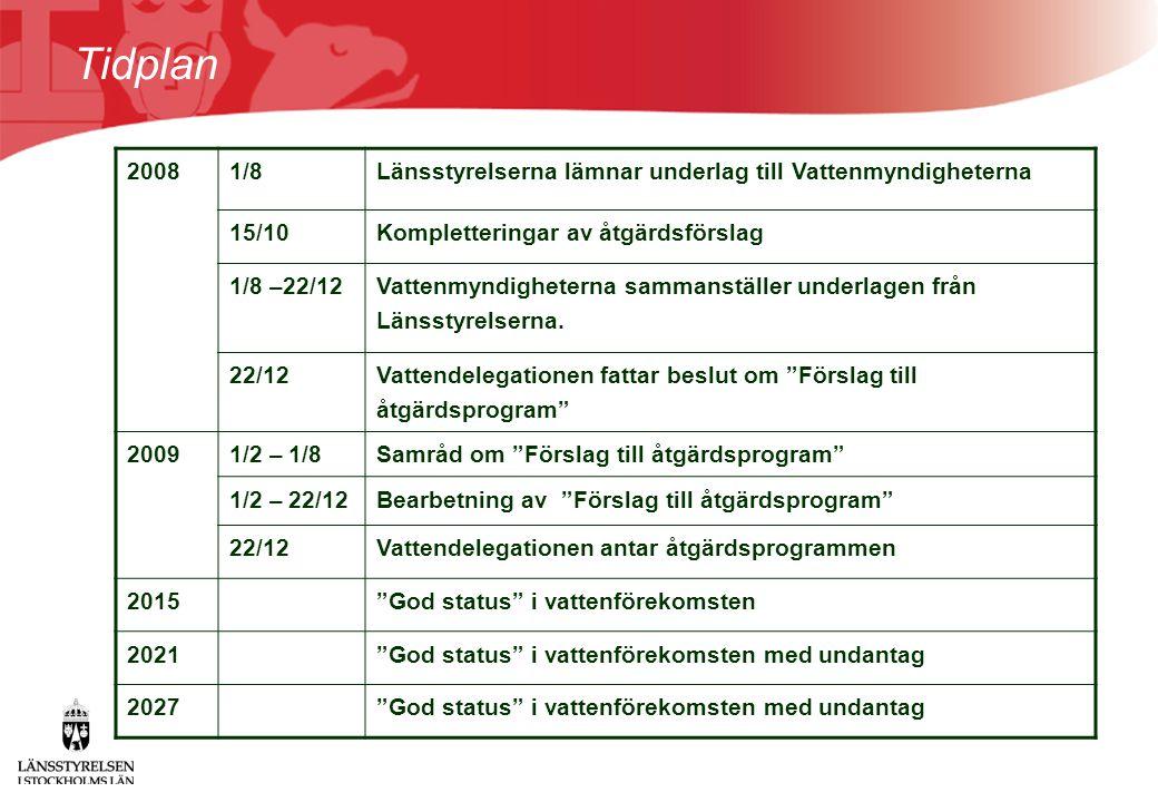 Tidplan 2008. 1/8. Länsstyrelserna lämnar underlag till Vattenmyndigheterna. 15/10. Kompletteringar av åtgärdsförslag.