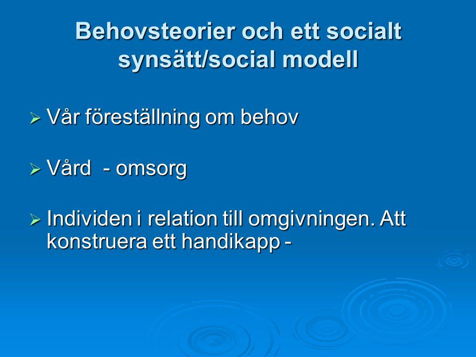 Behovsteorier och ett socialt synsätt/social modell