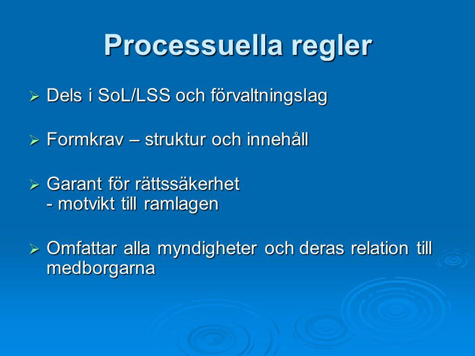 Processuella regler Dels i SoL/LSS och förvaltningslag
