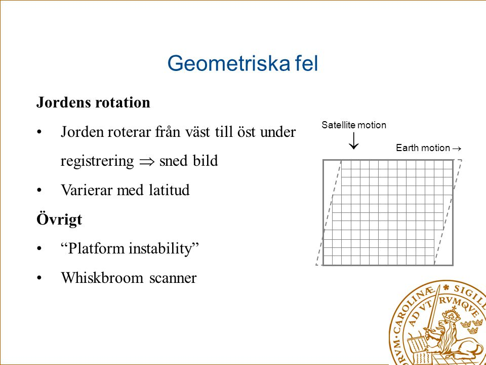 Geometriska fel  Jordens rotation