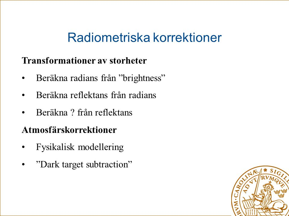 Radiometriska korrektioner