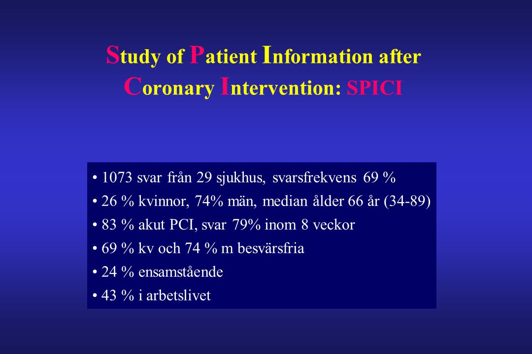 Study of Patient Information after Coronary Intervention: SPICI