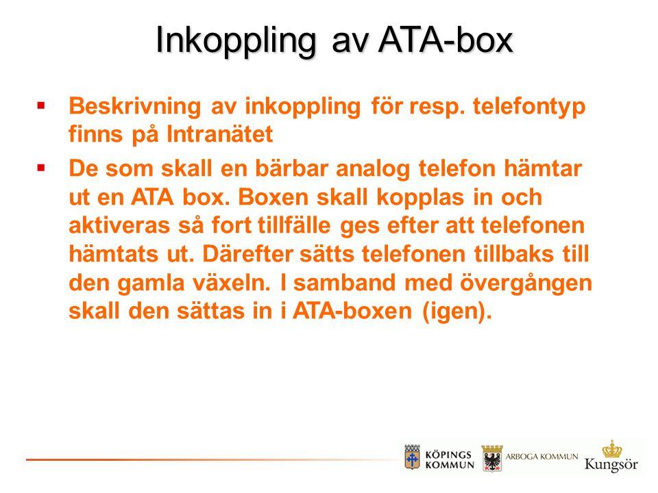 Inkoppling av ATA-box Beskrivning av inkoppling för resp. telefontyp finns på Intranätet.