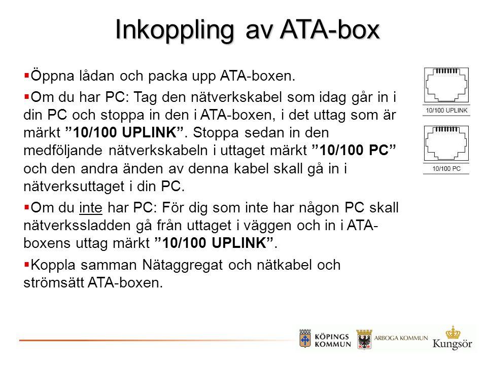 Inkoppling av ATA-box Öppna lådan och packa upp ATA-boxen.
