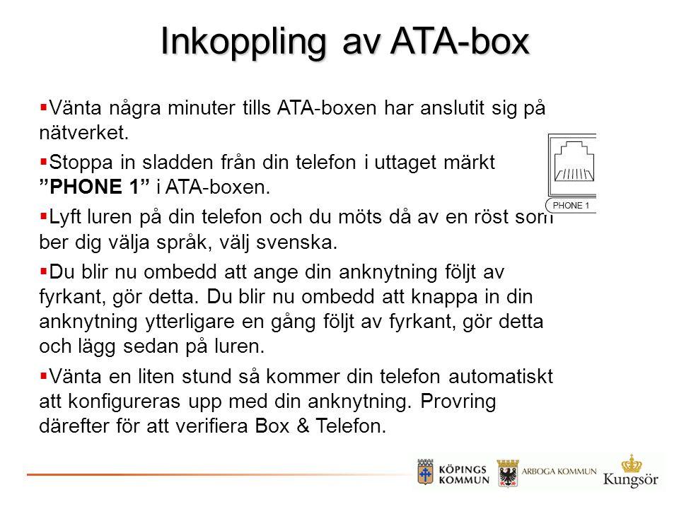 Inkoppling av ATA-box Vänta några minuter tills ATA-boxen har anslutit sig på nätverket.