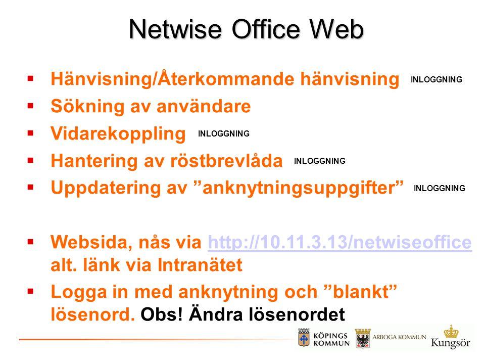 Netwise Office Web Hänvisning/Återkommande hänvisning