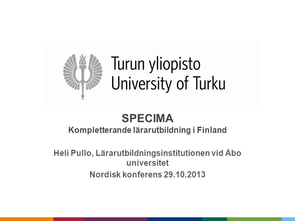 SPECIMA Kompletterande lärarutbildning i Finland