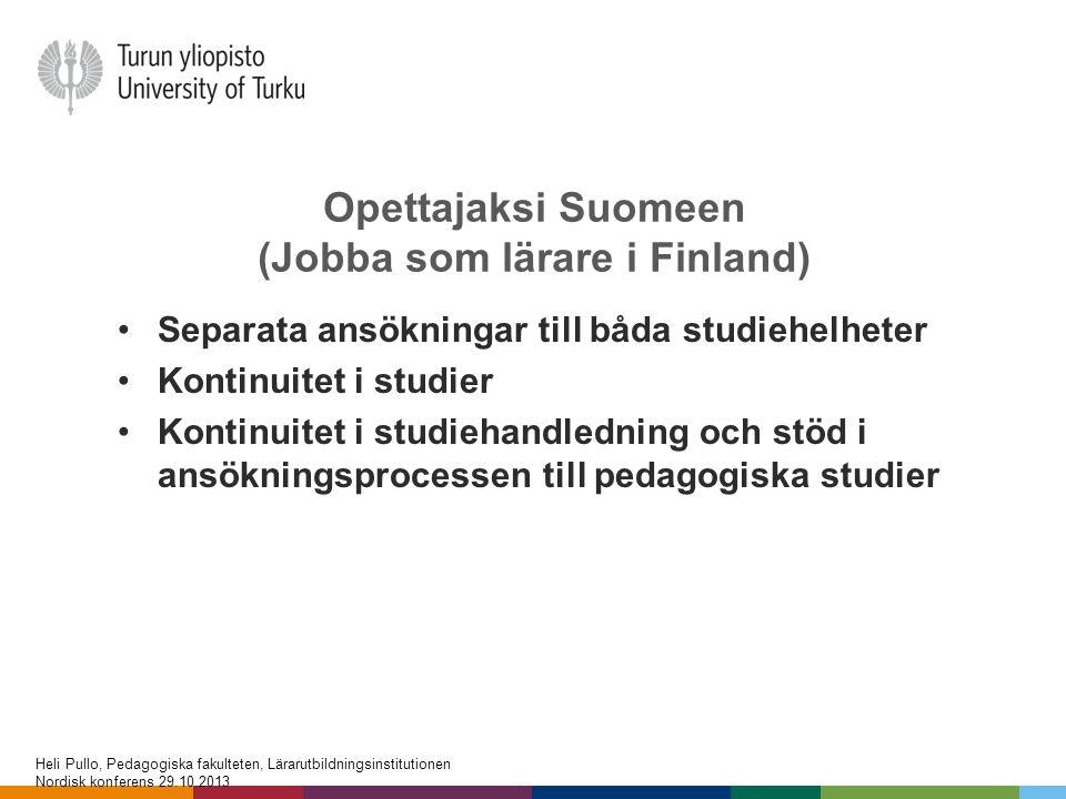 Opettajaksi Suomeen (Jobba som lärare i Finland)