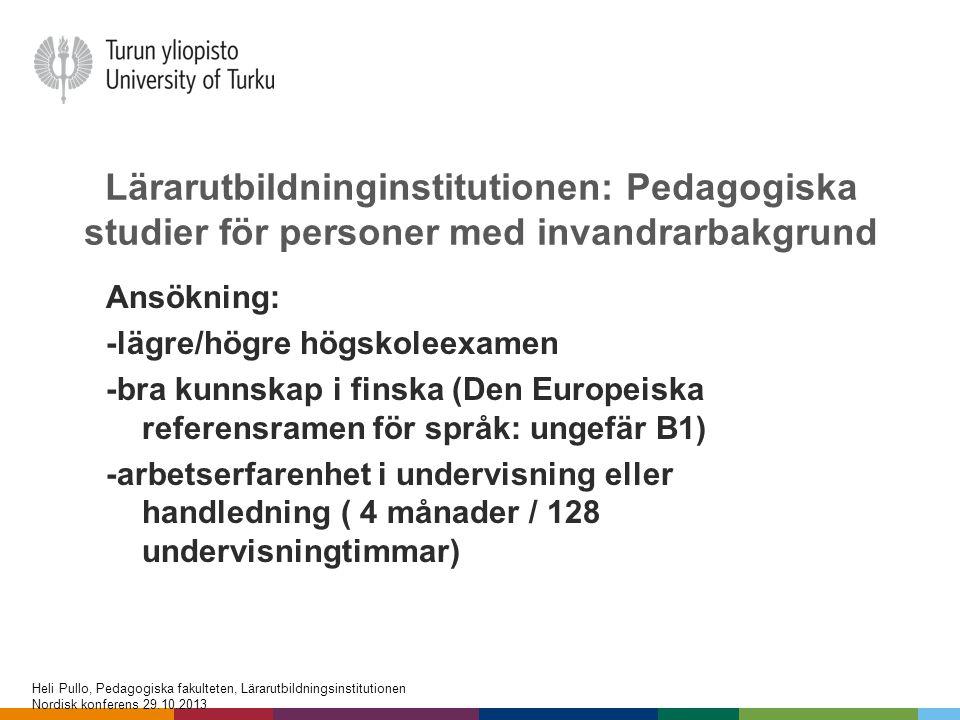 Lärarutbildninginstitutionen: Pedagogiska studier för personer med invandrarbakgrund