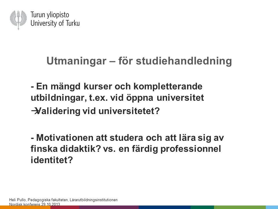 Utmaningar – för studiehandledning