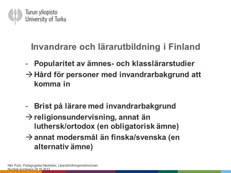 Invandrare och lärarutbildning i Finland