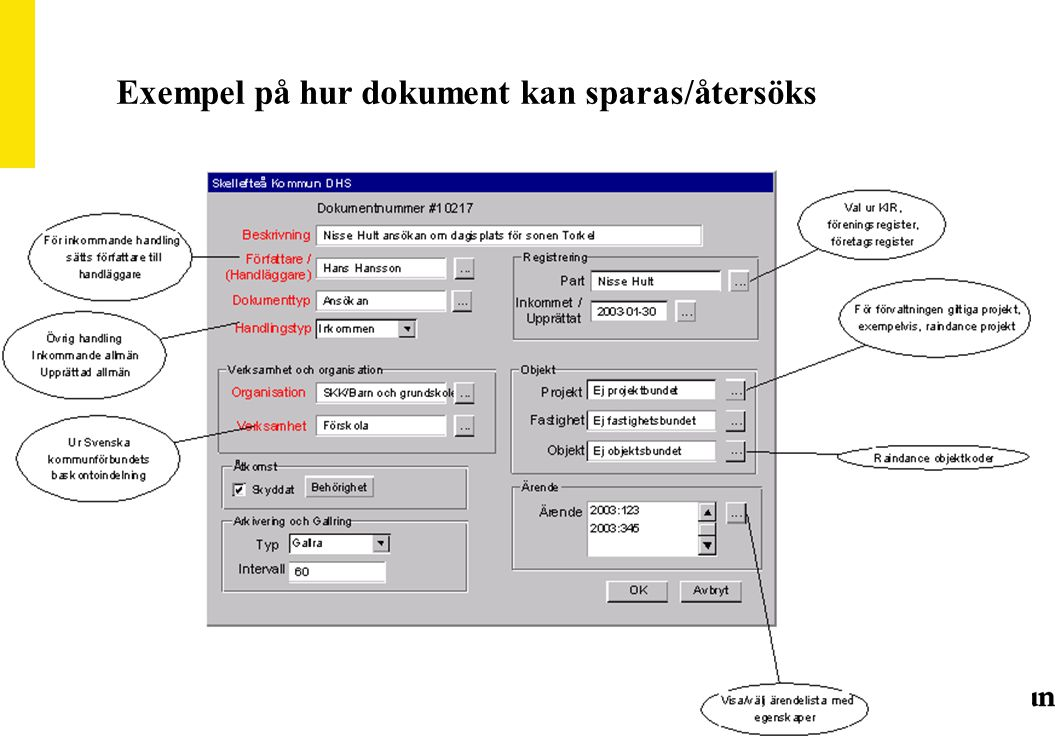 Exempel på hur dokument kan sparas/återsöks