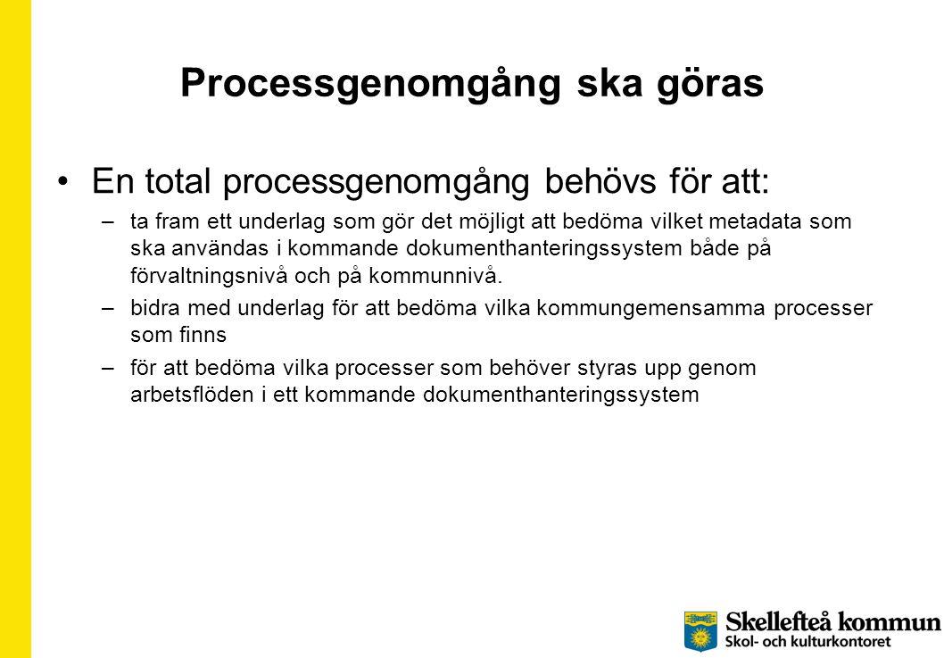 Processgenomgång ska göras