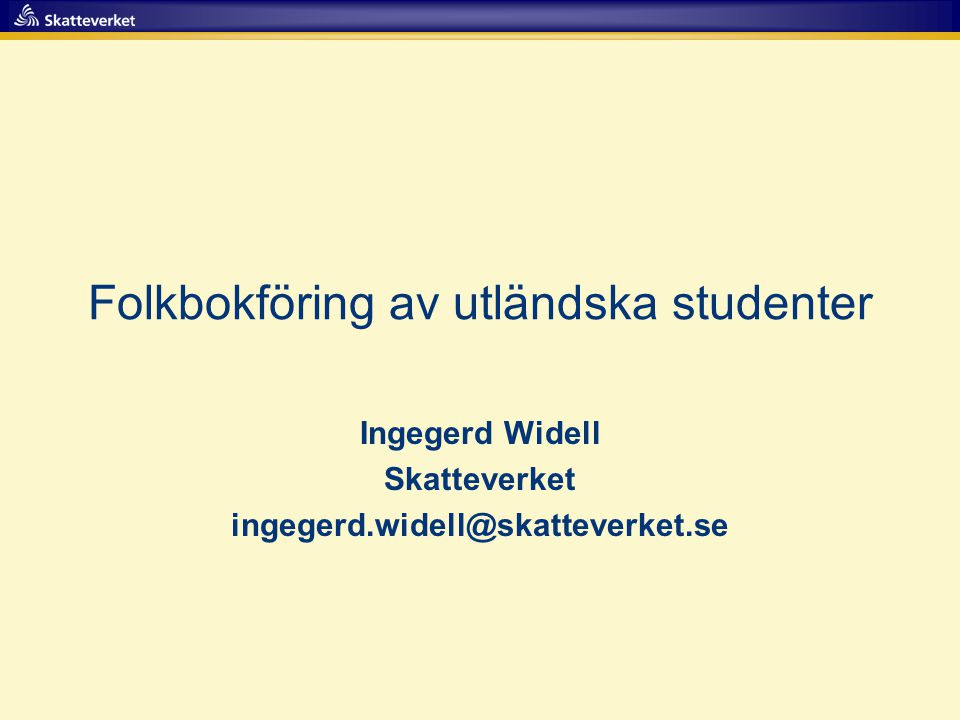 Folkbokföring av utländska studenter