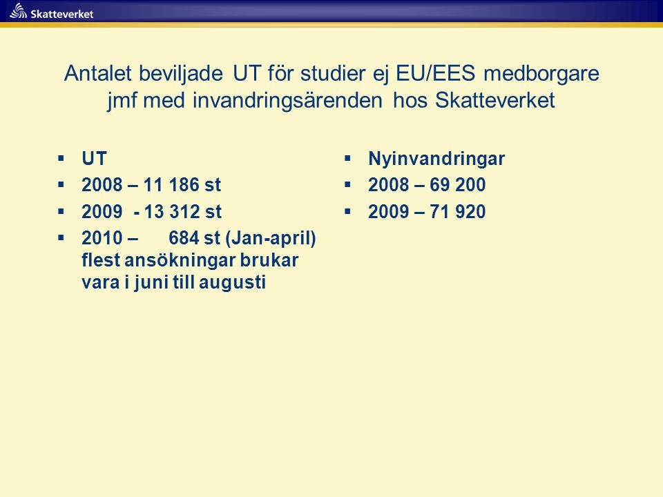 Antalet beviljade UT för studier ej EU/EES medborgare jmf med invandringsärenden hos Skatteverket