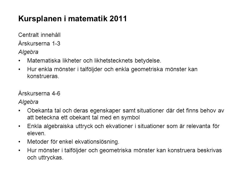 Kursplanen i matematik 2011