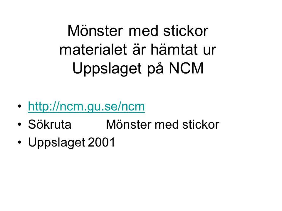 Mönster med stickor materialet är hämtat ur Uppslaget på NCM