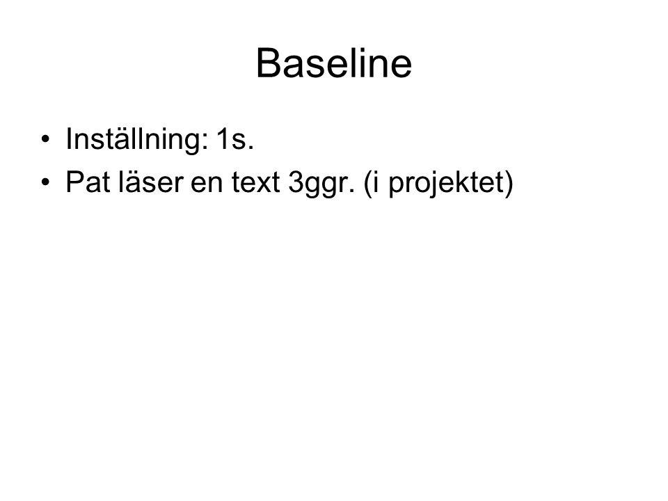 Baseline Inställning: 1s. Pat läser en text 3ggr. (i projektet)