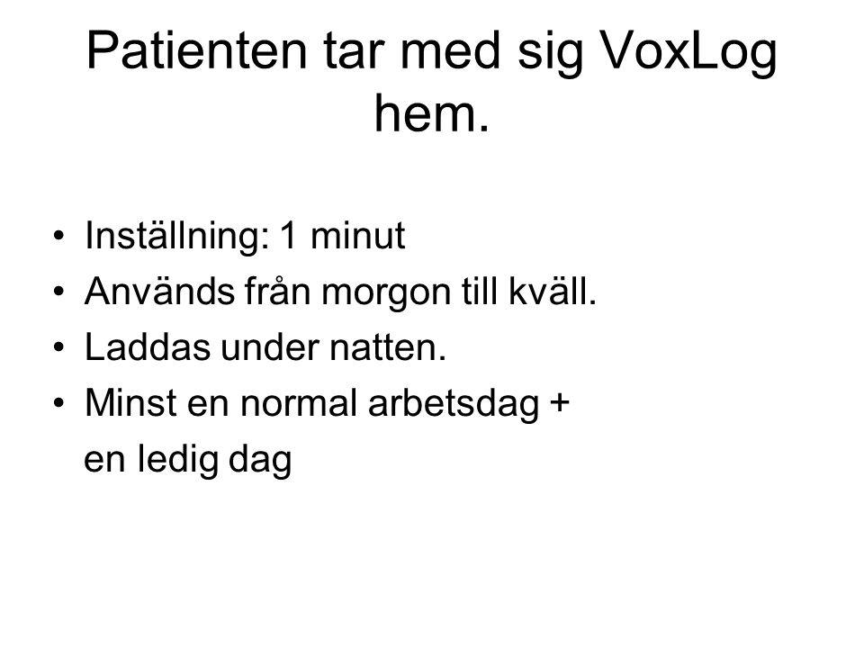 Patienten tar med sig VoxLog hem.