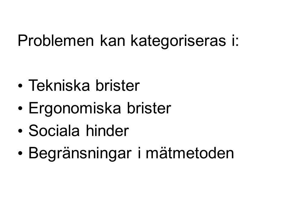 Problemen kan kategoriseras i: