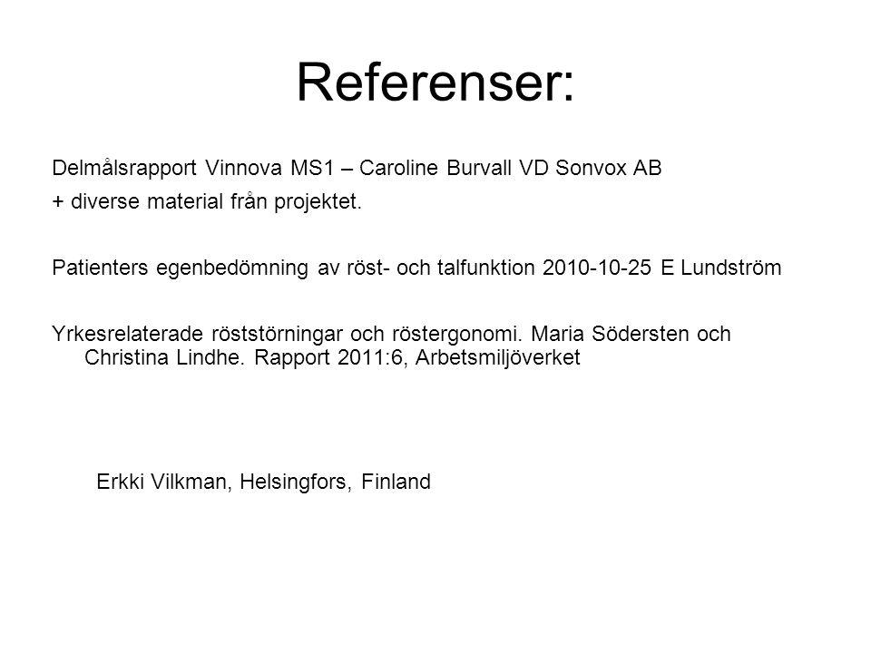 Referenser: Delmålsrapport Vinnova MS1 – Caroline Burvall VD Sonvox AB