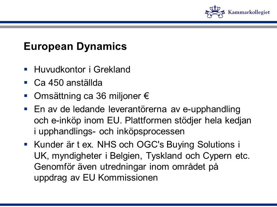 European Dynamics Huvudkontor i Grekland Ca 450 anställda