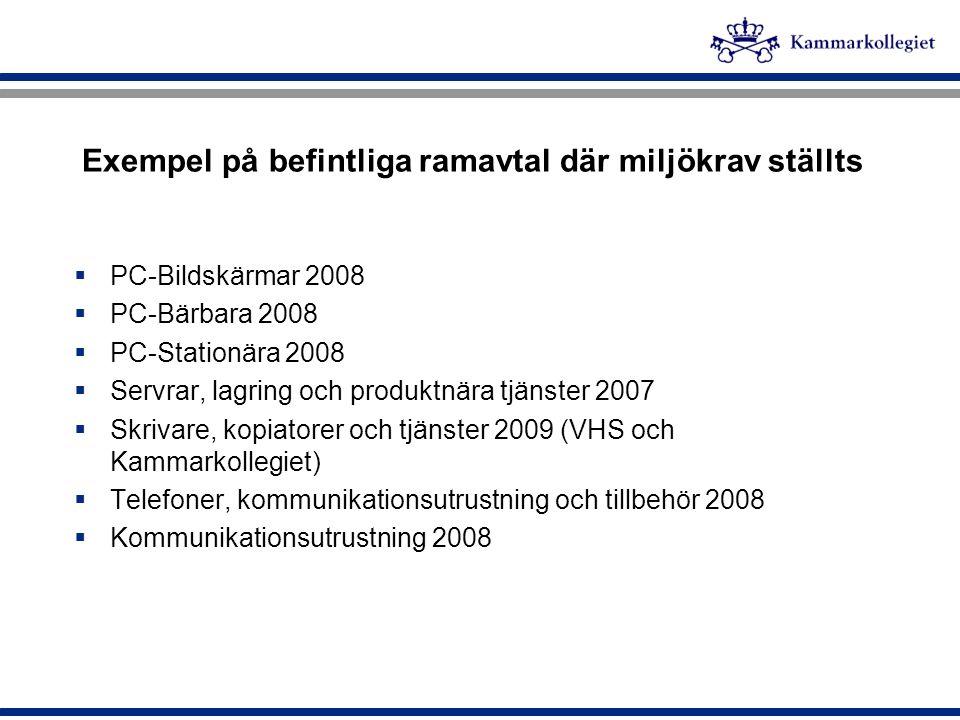 Exempel på befintliga ramavtal där miljökrav ställts
