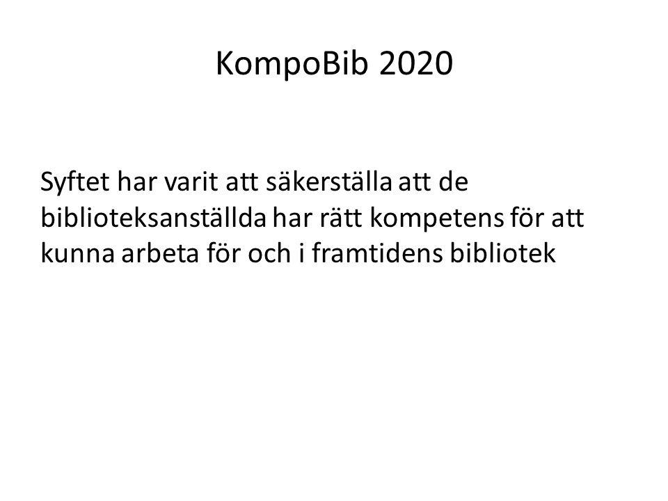 KompoBib 2020 Syftet har varit att säkerställa att de biblioteksanställda har rätt kompetens för att kunna arbeta för och i framtidens bibliotek.