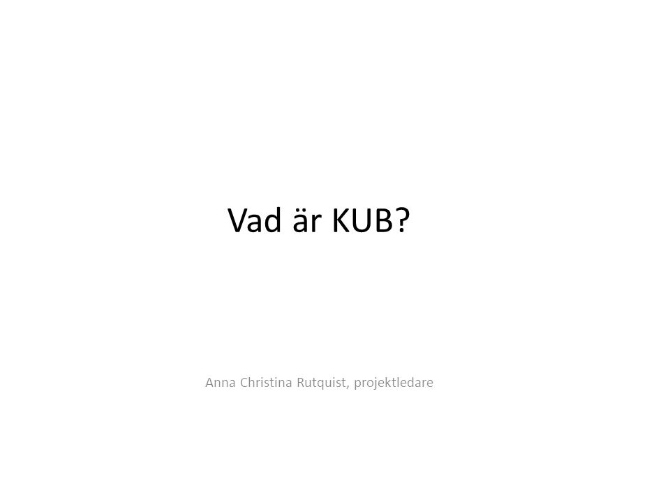 Anna Christina Rutquist, projektledare