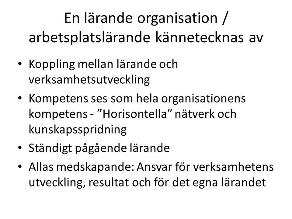 En lärande organisation / arbetsplatslärande kännetecknas av