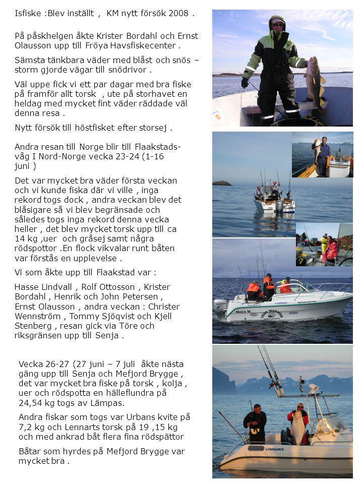 Isfiske :Blev inställt , KM nytt försök 2008 .