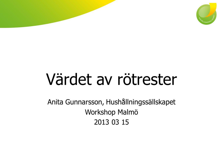 Anita Gunnarsson, Hushållningssällskapet Workshop Malmö 2013 03 15