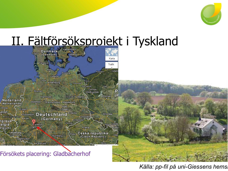 II. Fältförsöksprojekt i Tyskland