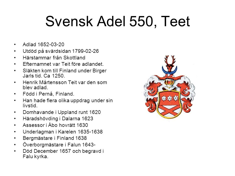 Svensk Adel 550, Teet Adlad 1652-03-20 Utdöd på svärdsidan 1799-02-26