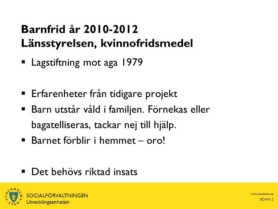 Barnfrid år 2010-2012 Länsstyrelsen, kvinnofridsmedel
