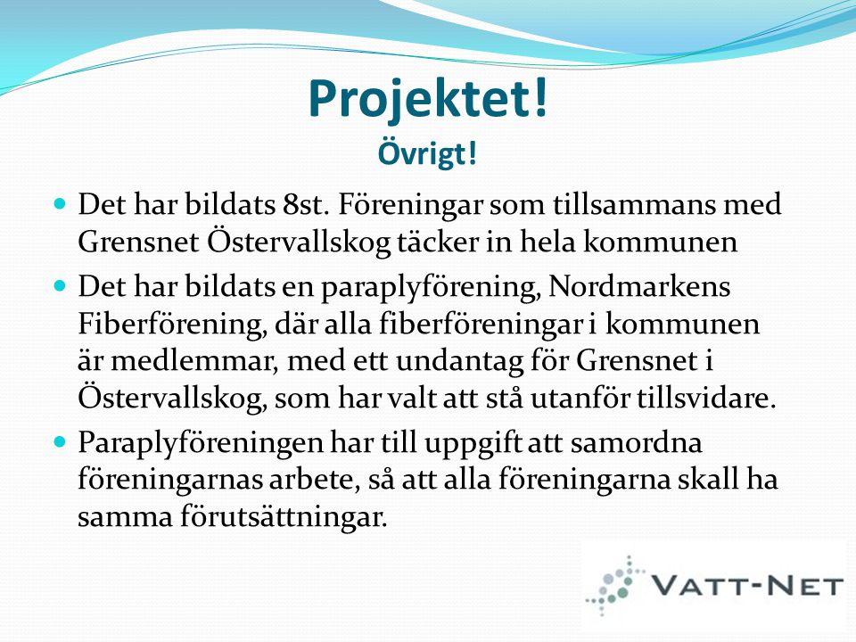 Projektet! Övrigt! Det har bildats 8st. Föreningar som tillsammans med Grensnet Östervallskog täcker in hela kommunen.