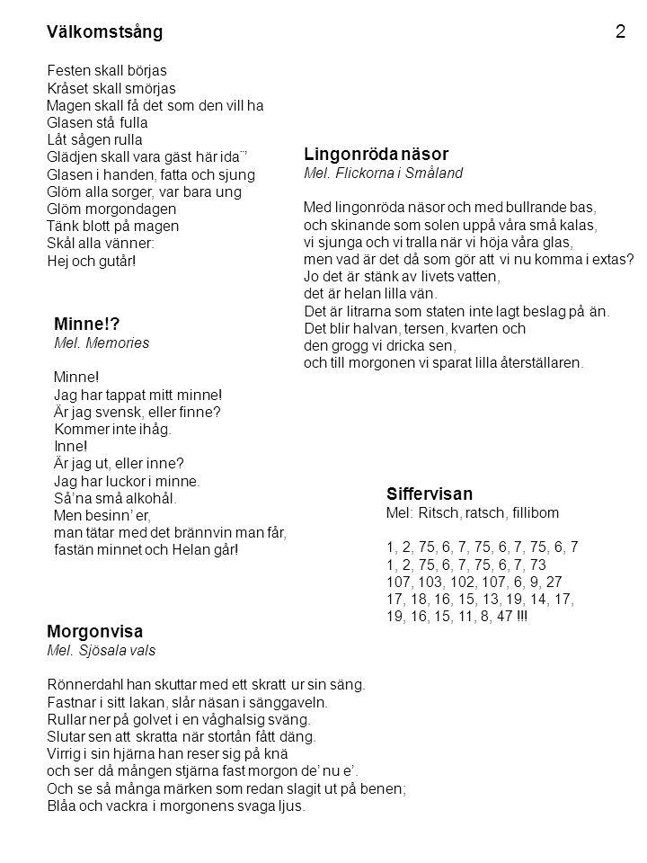 2 Välkomstsång Lingonröda näsor Mel. Flickorna i Småland Minne!