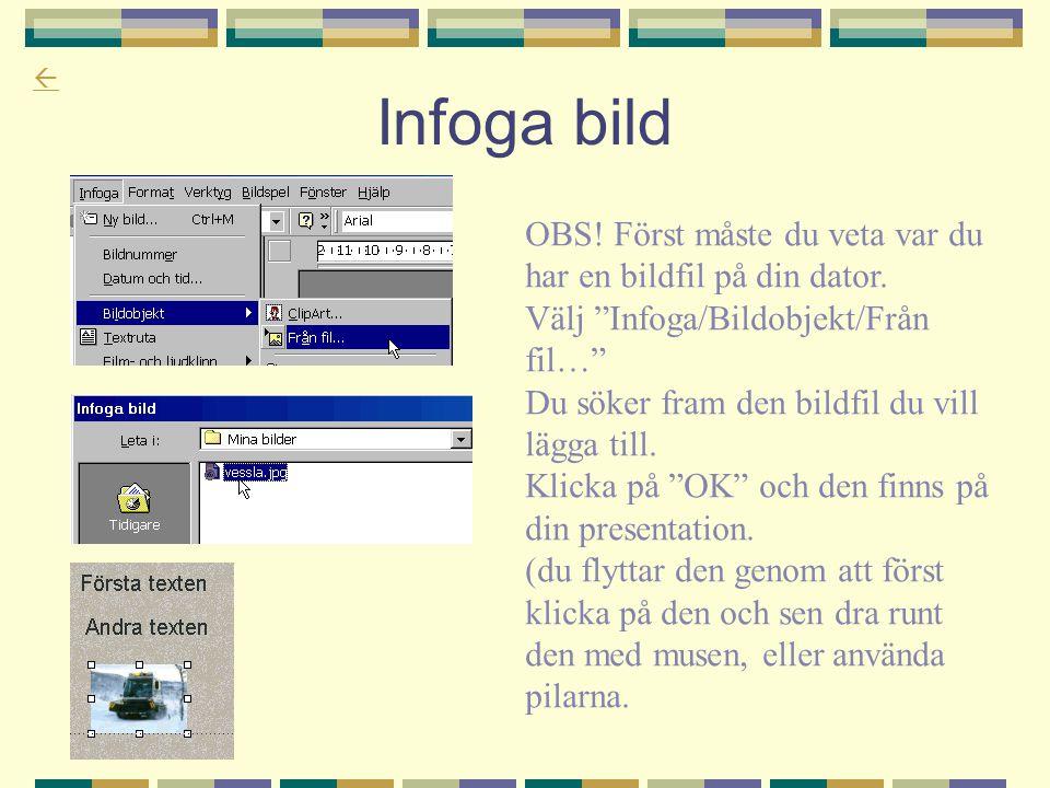 Infoga bild OBS! Först måste du veta var du har en bildfil på din dator. Välj Infoga/Bildobjekt/Från fil…